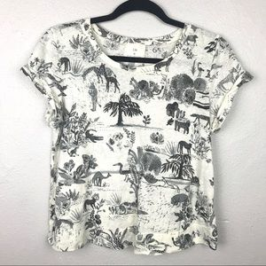 Anthropologie t.la Jungle Animal T-Shirt Tee Sz XS